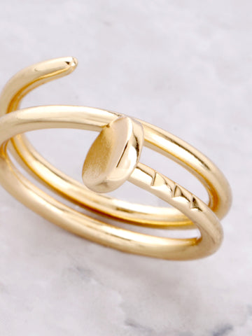 Twisted Nail Ring Anarchy Street Gold - Details