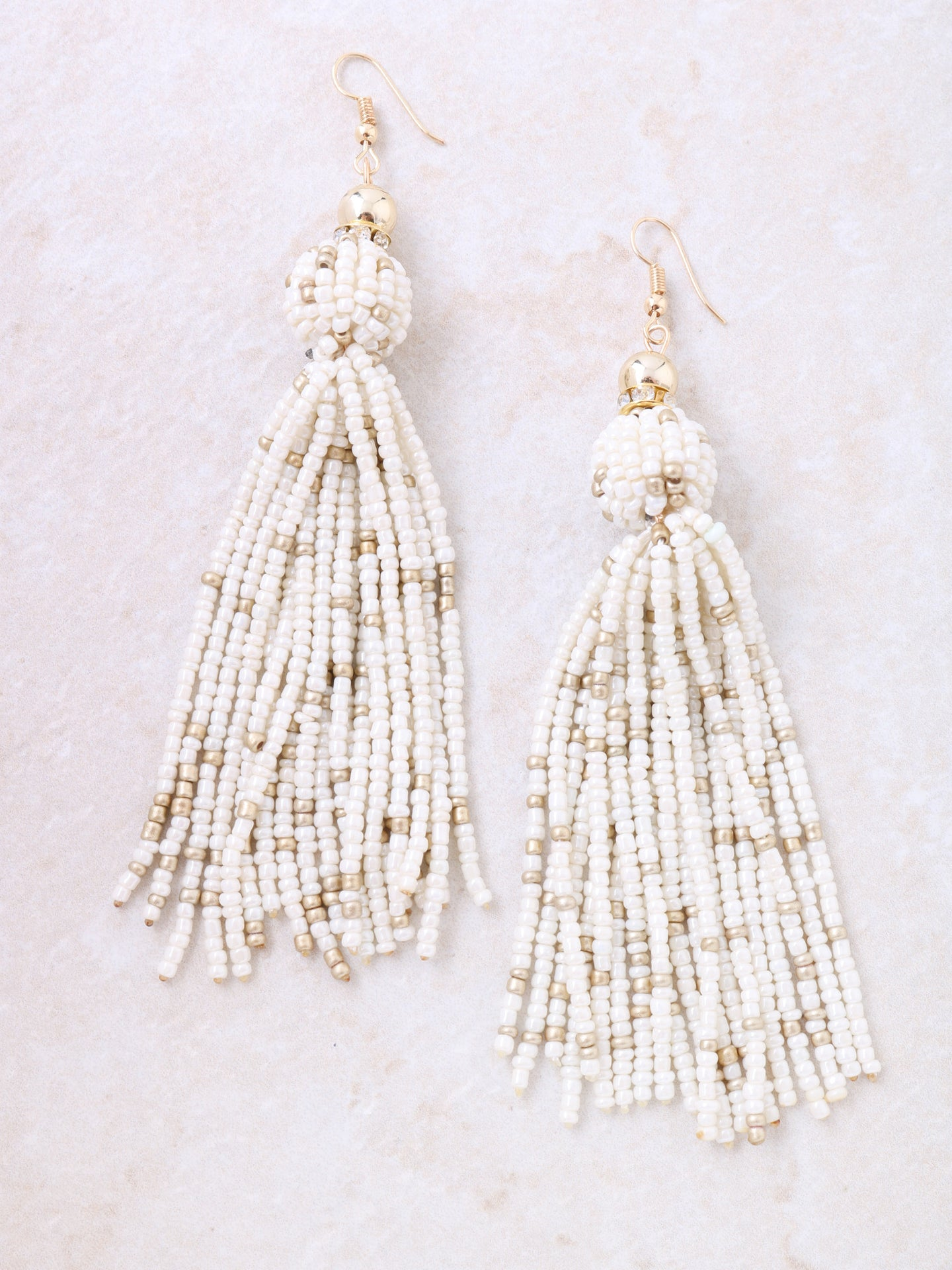 Beaded Tassel Earrings Anarchy Street Beige