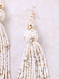 Beaded Tassel Earrings Anarchy Street Beige - Details