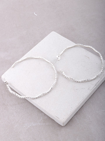 Wavy Crystal Hoop Earrings