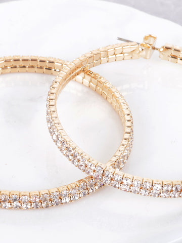 Double Crystal Hoop Earrings Anarchy Street Gold