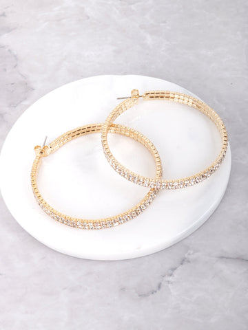 Double Crystal Hoop Earrings Anarchy Street Gold - Details