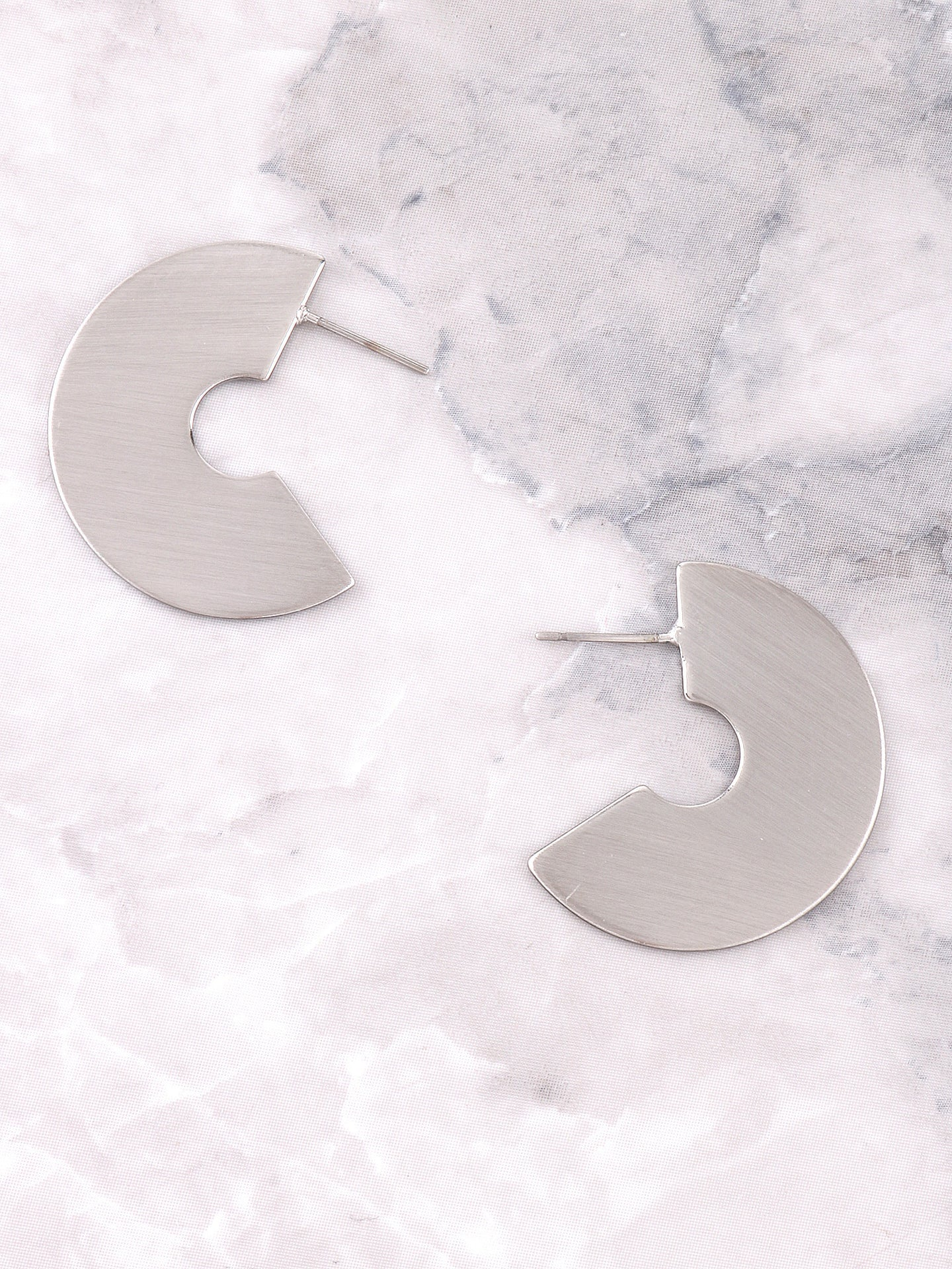 Half Disk Earrings Anarchy Street Silver