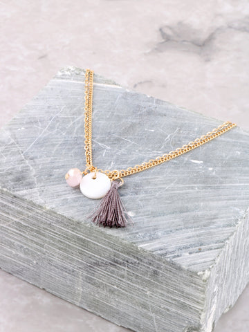 Beaded Tassel Anklet Anarchy Street Gold