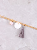 Beaded Tassel Anklet Anarchy Street Gold - Details