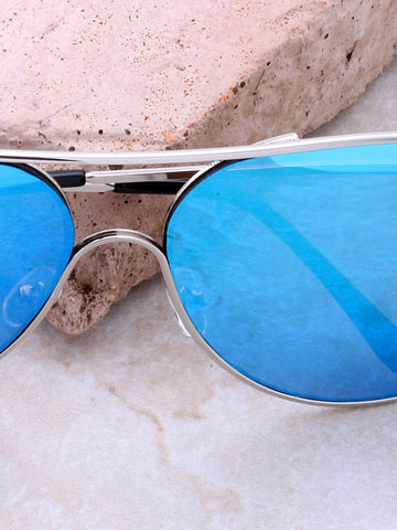 Low Tide Aviator Sunglasses Anarchy Street Silver_Blue - Details