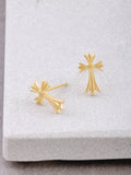 Fancy Cross Stud Earrings Anarchy Street Gold
