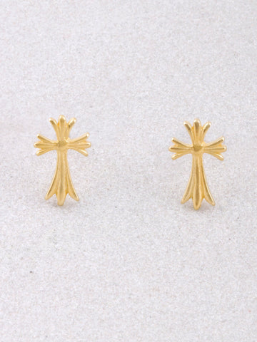Fancy Cross Stud Earrings Anarchy Street Gold - Details
