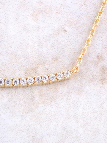 Curved Pave Bar Pendant Necklace