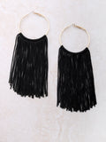 Fringe Hoops Earrings Anarchy Street Black