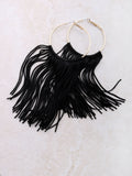 Fringe Hoops Earrings Anarchy Street Black - Details