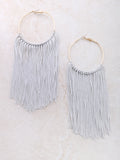 Fringe Hoops Earrings Anarchy Street Gray