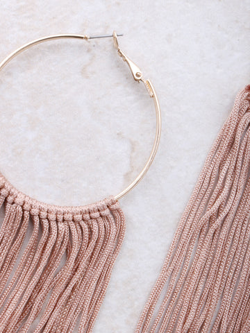 Fringe Hoops Earrings Anarchy Street Nude - 1 Details