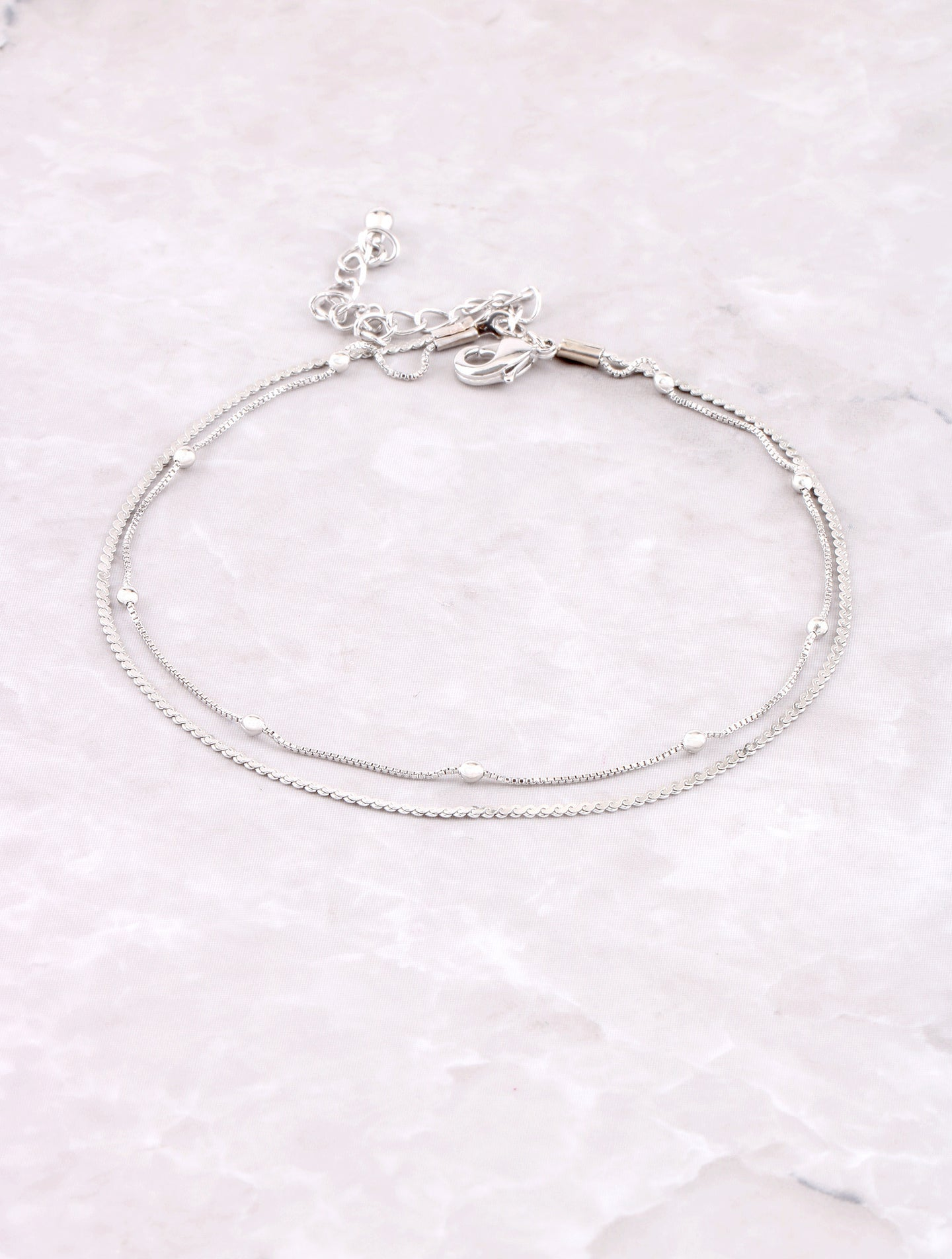 Double Beaded Anklet Anarchy Street Silver