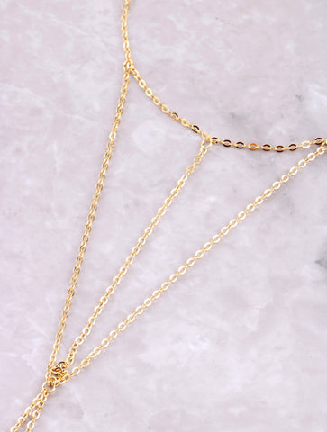 Double Cage Toe Ring Anklet Anarchy Street Gold - Details