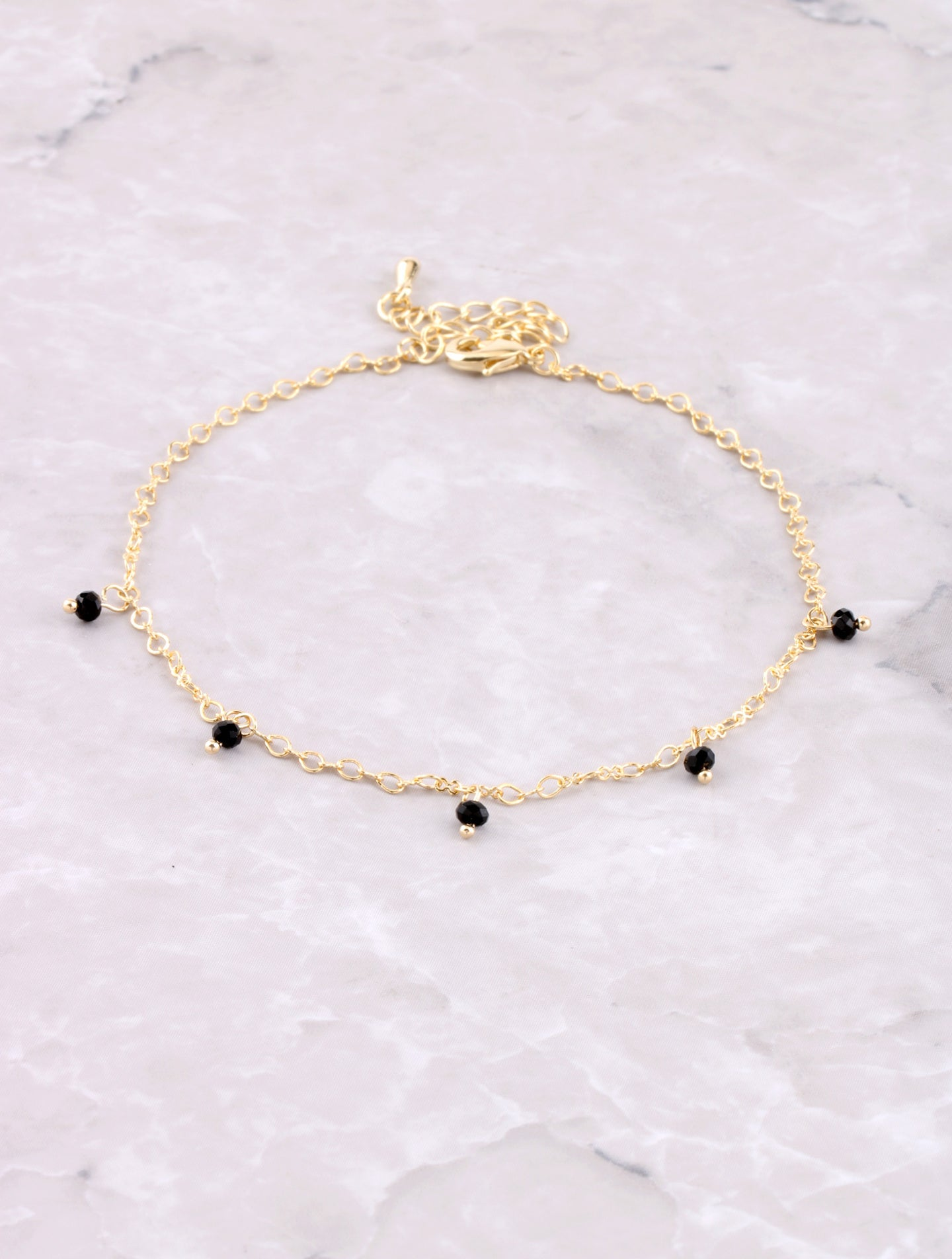 Hanging Beads Anklet Anarchy Street Black