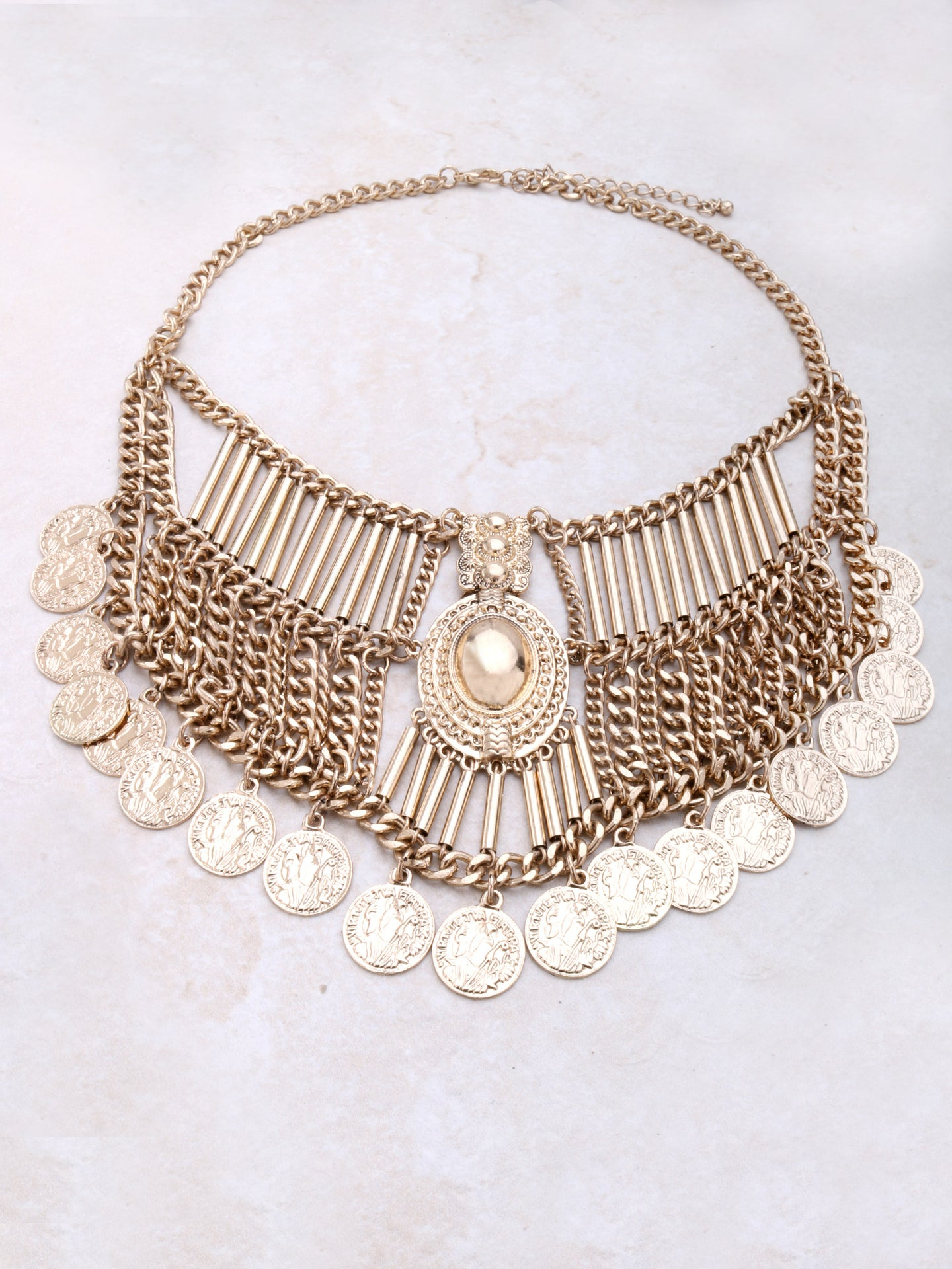 Coin Bib Necklace Anarchy Street Gold