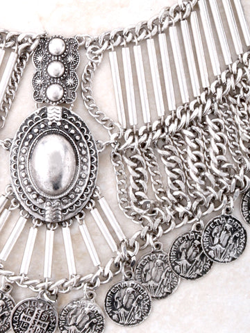 Coin Bib Necklace Anarchy Street Silver - Details
