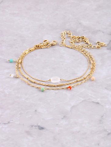Colorful Stone Dainty Bracelet Set Anarchy Street Multi - Details