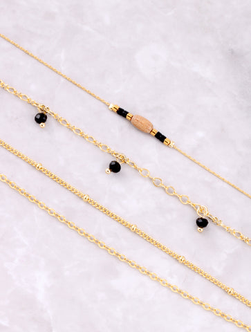 Beaded Chain Dainty Bracelet Set Anarchy Street Black - Details