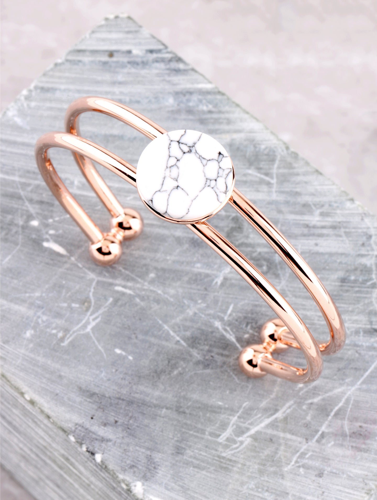 Marble Button Cuff Bracelet Anarchy Street Rosegold