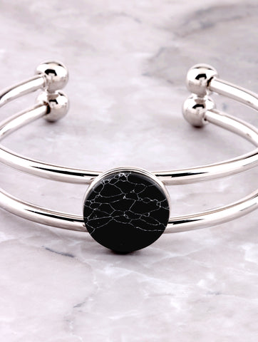 Marble Button Cuff Bracelet Anarchy Street Silver - Details