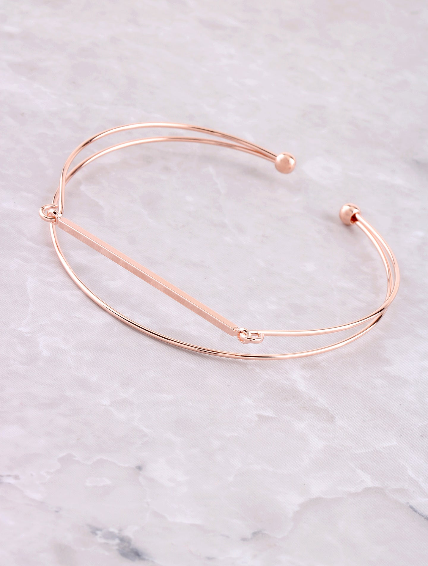 Wire Bar Cuff Bracelet Anarchy Street Rosegold