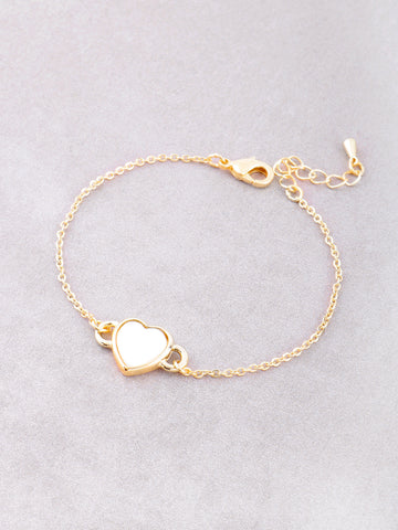Glazed Heart Chain Bracelet Anarchy Street Gold