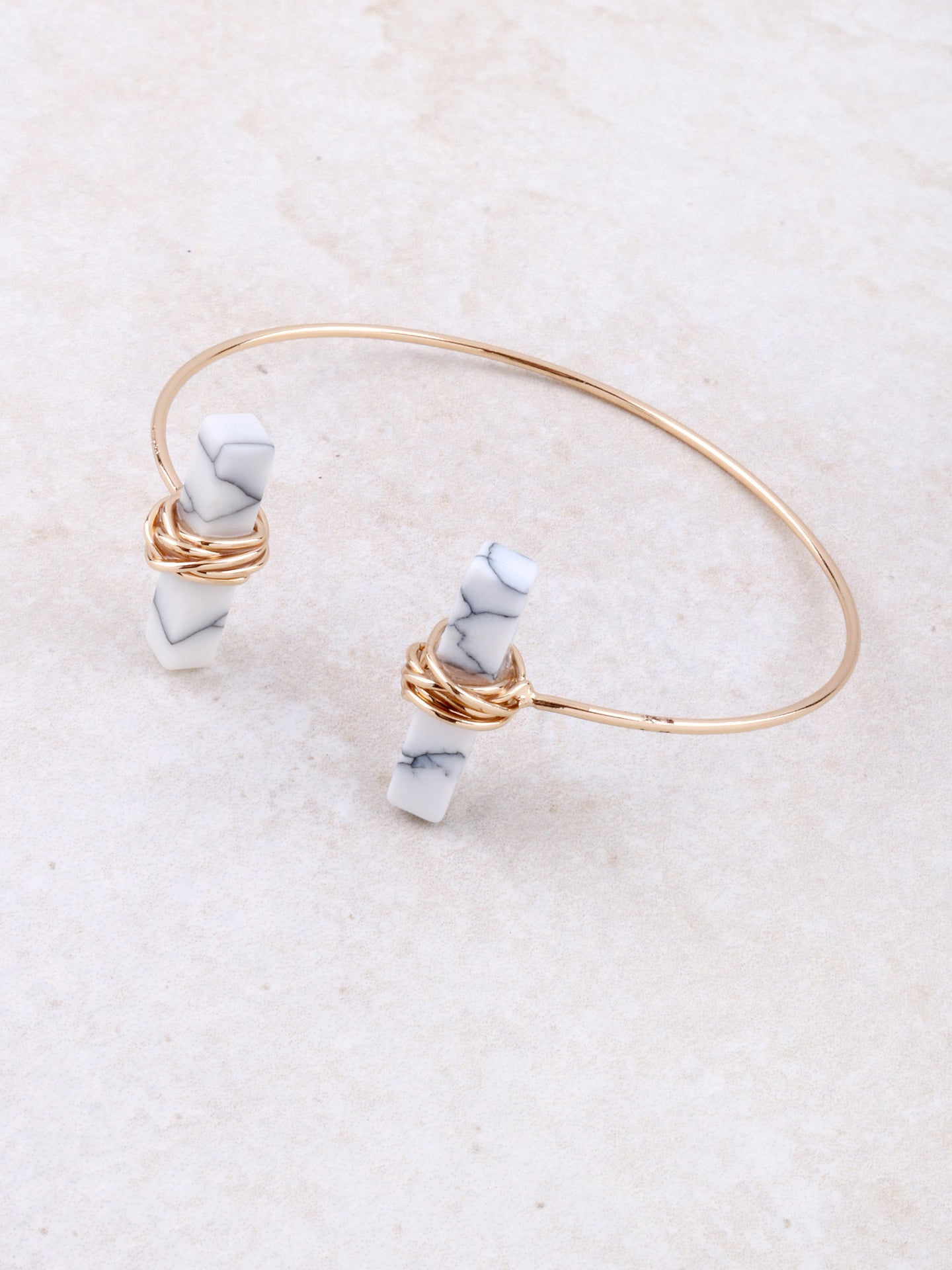 Wrapped Marble Block Cuff Bracelet Anarchy Street Gold