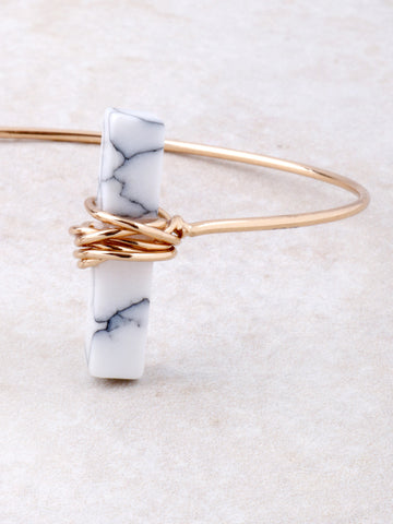 Wrapped Marble Block Cuff Bracelet Anarchy Street Gold - Details