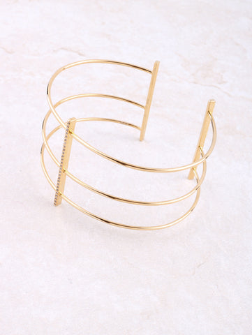 Triple Pave Bar Cuff Bracelet Anarchy Street Gold
