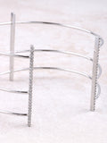 Triple Pave Bar Cuff Bracelet Anarchy Street Silver - Details