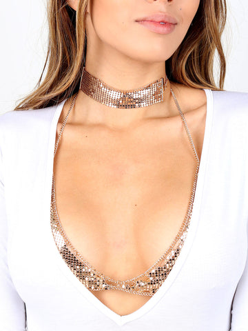Sequin Bralette And Choker Set