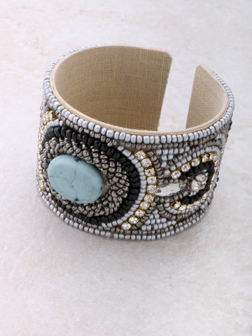 Sky Beaded Cuff Bracelet Anarchy Street Blue