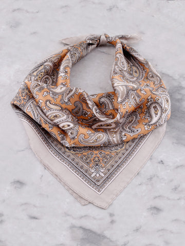 Paisley Silk Scarf Anarchy Street Gray - Details 1