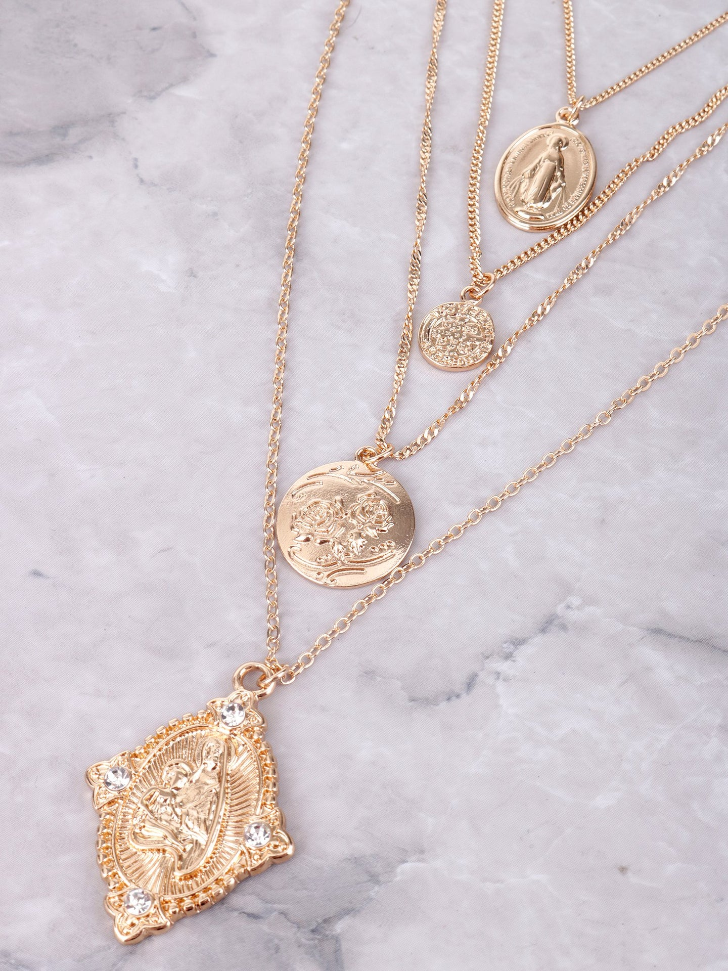 Virgin Mary Layered Necklace Anarchy Street Gold