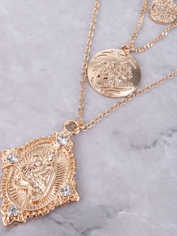 Virgin Mary Layered Necklace Anarchy Street Gold - Details