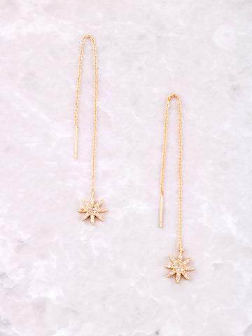 Starburst Dangle Threader Earrings Anarchy Street Gold