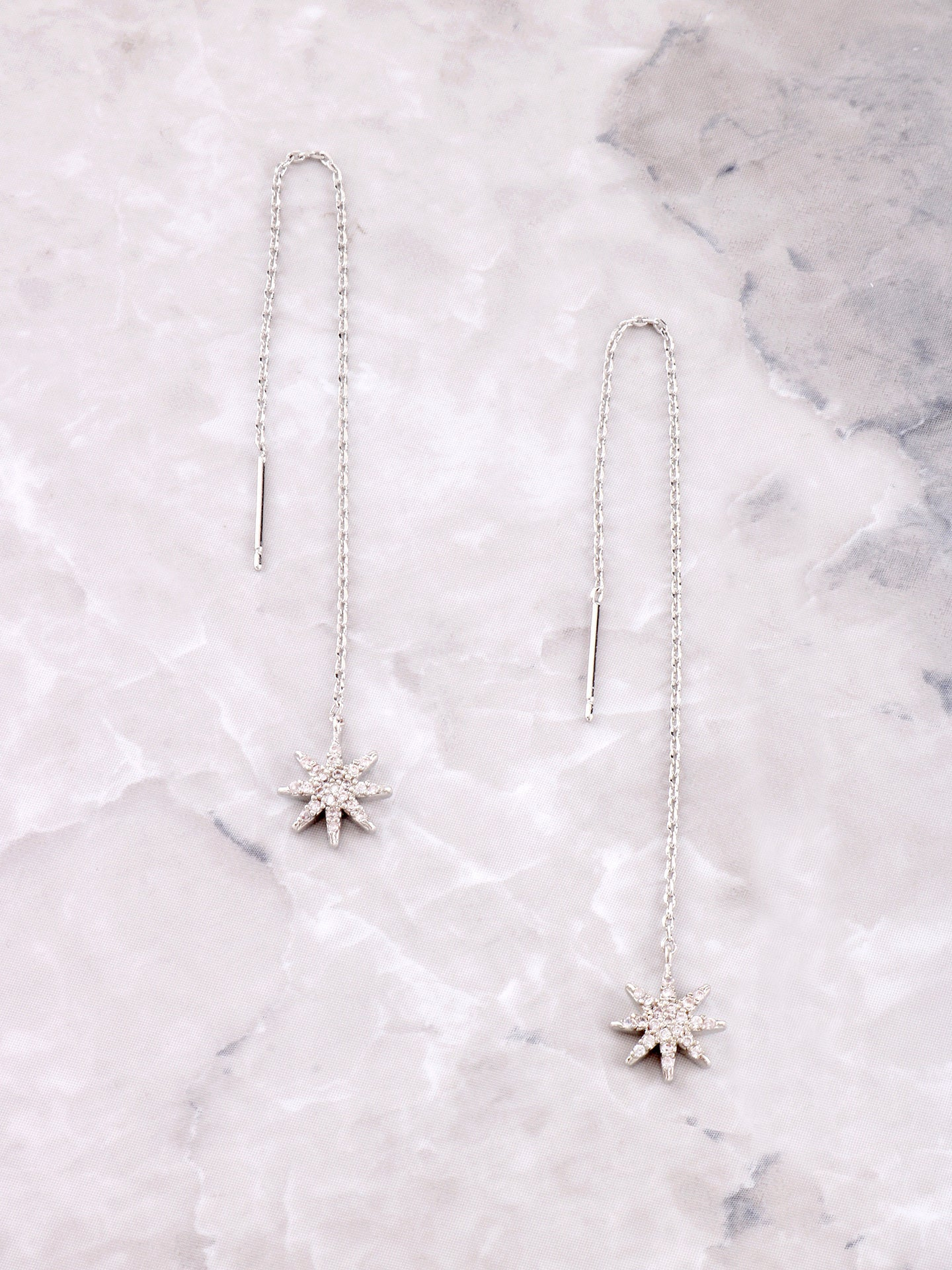 Starburst Dangle Threader Earrings Anarchy Street Silver