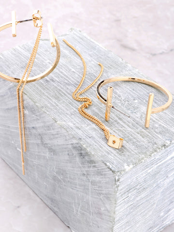 Parallel Double Sided Earring Anarchy Street Gold - Details