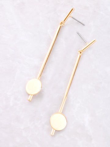 Matte Button Bar Earrings Anarchy Street Gold - Details