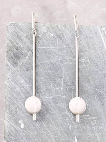 Matte Button Bar Earrings Anarchy Street Silver