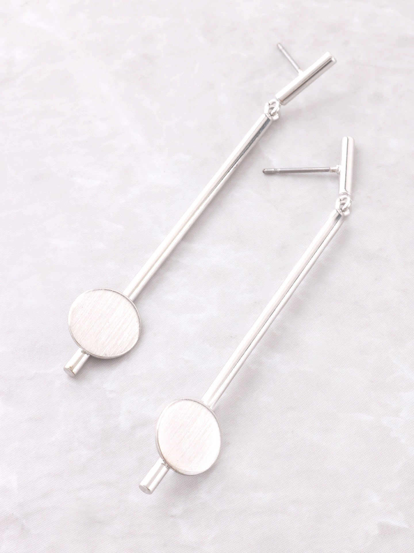 Matte Button Bar Earrings Anarchy Street Silver - Details