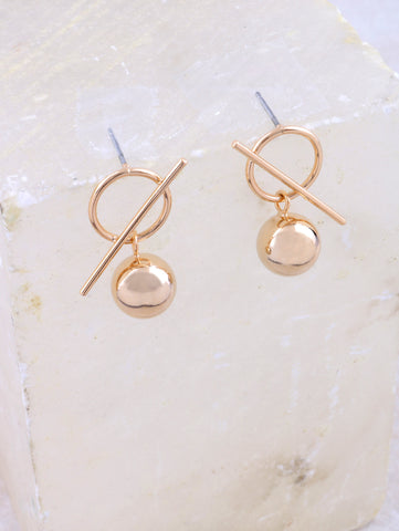 Bar Ball Earrings Anarchy Street Gold