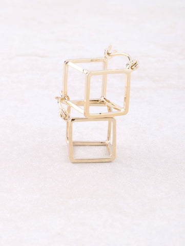 Hollow Cubed Earring Anarchy Street Gold