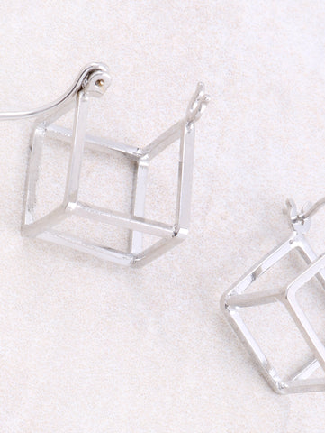 Hollow Cubed Earring Anarchy Street Silver -1 Details