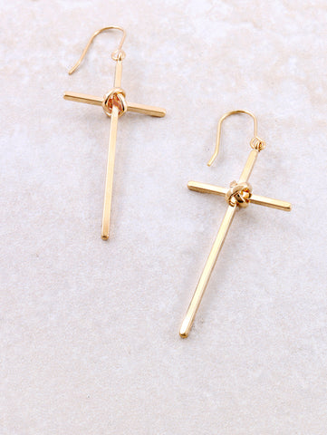Tied Cross Earring Anarchy Street Gold