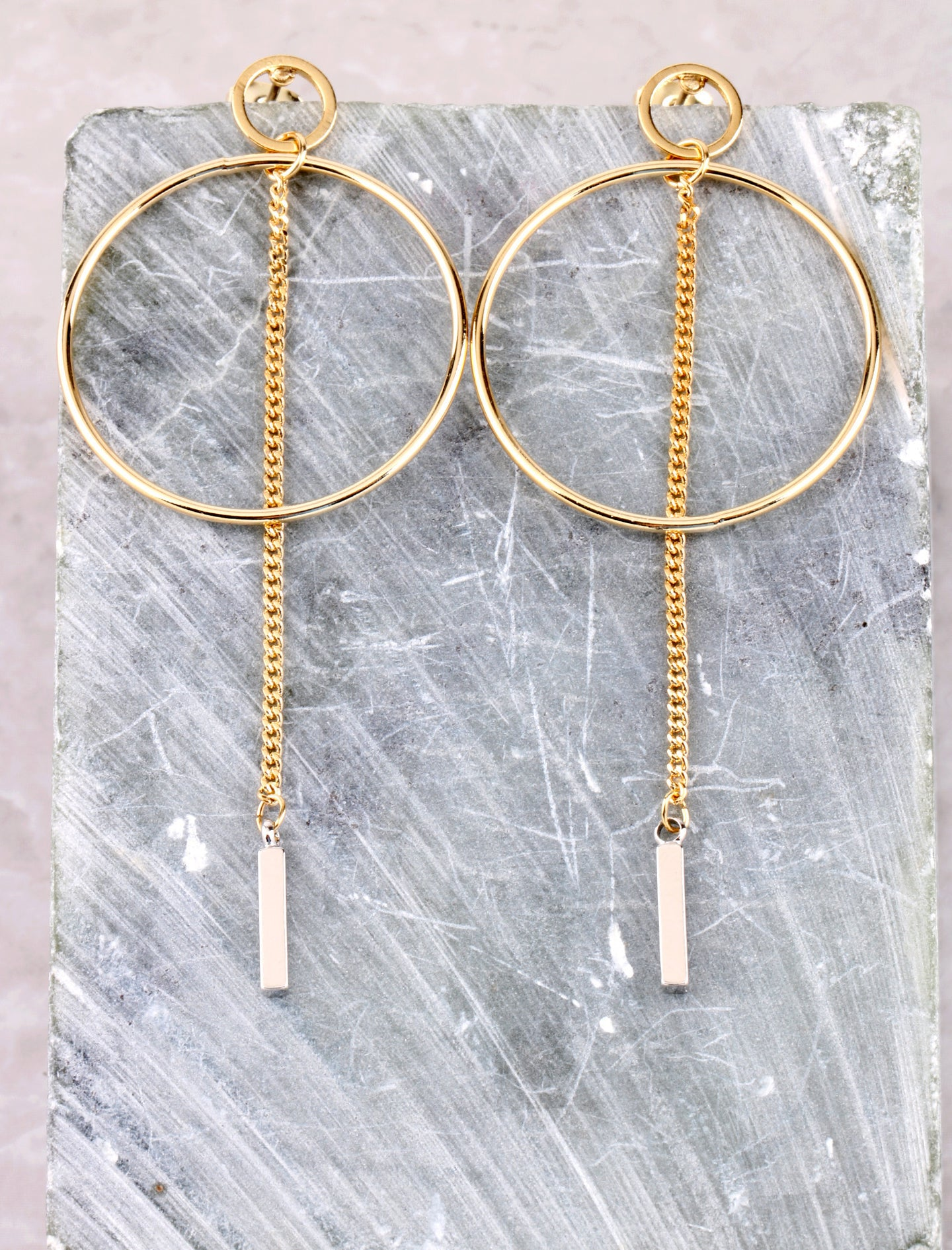 Two Tone Chain Bar Earring Anarchy Street Gold