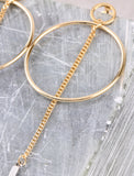 Two Tone Chain Bar Earring Anarchy Street Gold - Details