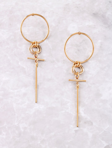 Double Loop Drop Earring Anarchy Street Gold